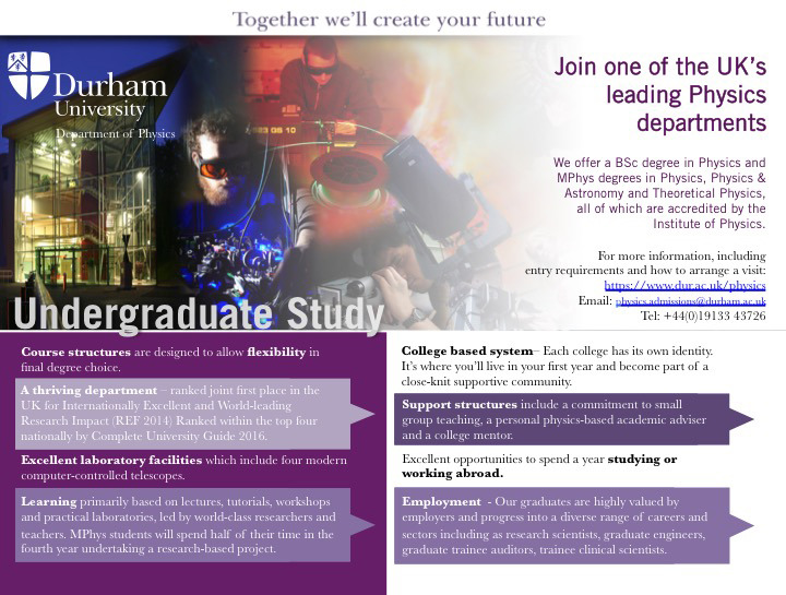 Flyer advertising undergraduate study courses - click to enlarge and print
