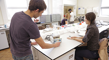 Image of a students working in a lab