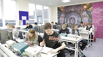 Image of students working in one of the newly refurbished labs