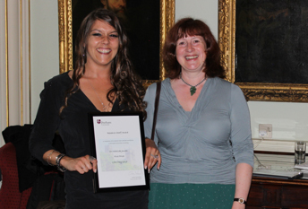 Image of Dr Mathilde Jauzac receiving her award