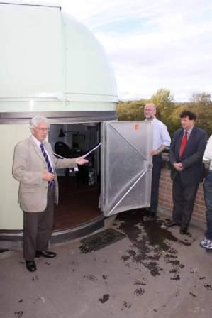 Professor Sir Arnold Wolfendale opens the revamped telescope