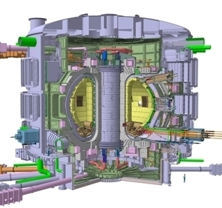 The ITER fusion reactor being built in Cadarache, France:  http://www.iter.org/
