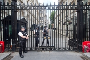 Gated entrance to Downing Street