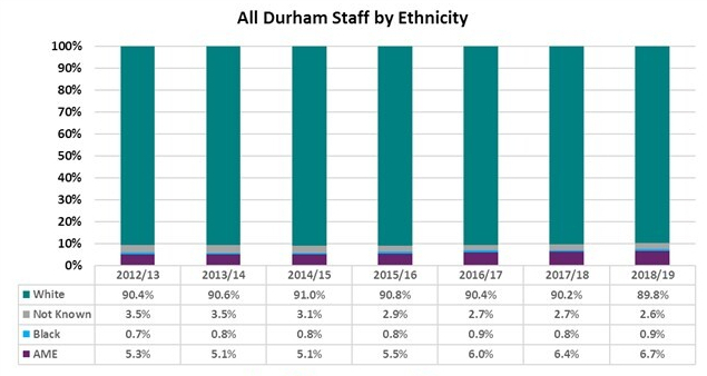 Graph showing All Durham University staff by ethnicity 2012/13 to 2018/19