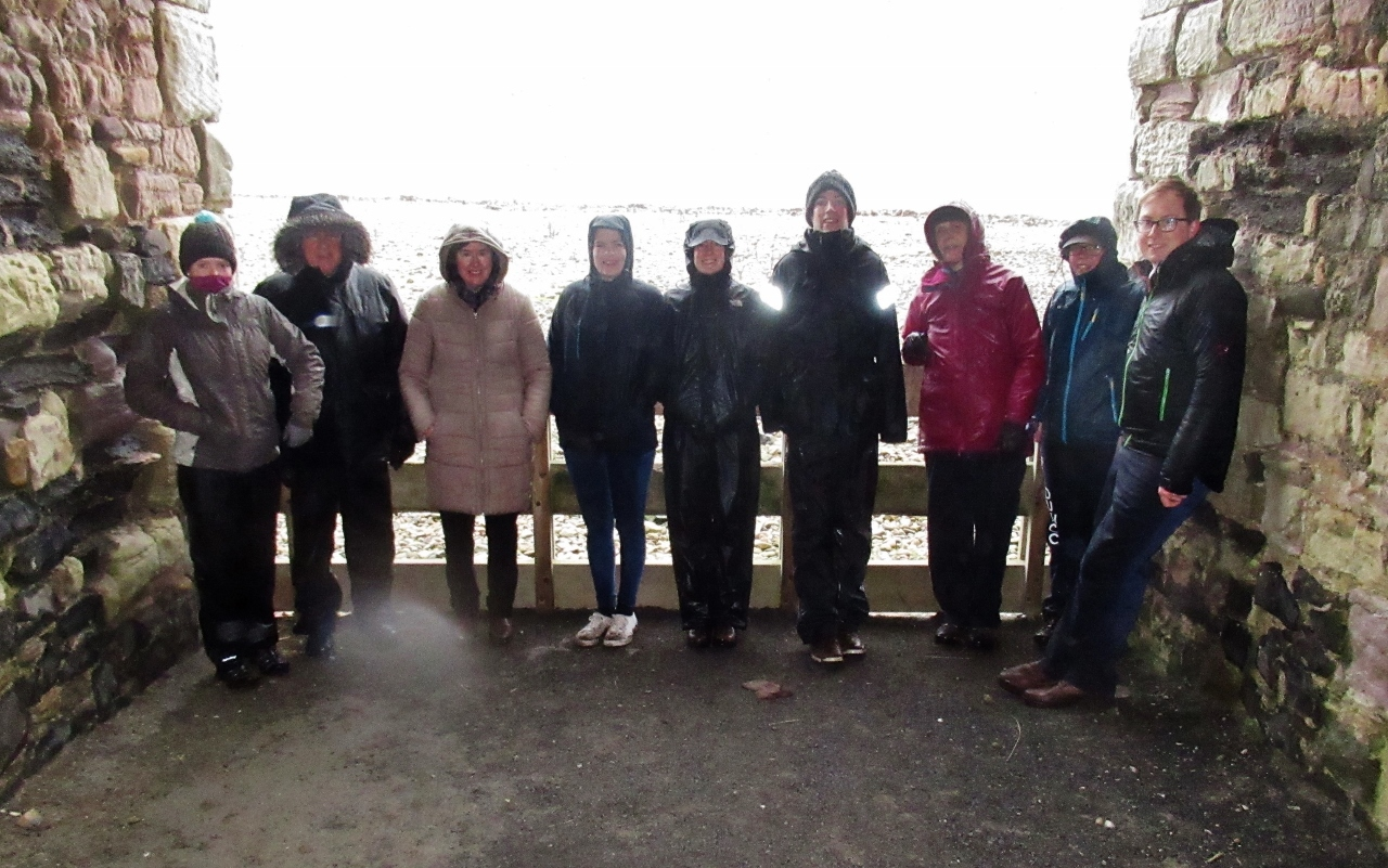 The group sheltering on Lindisfarne