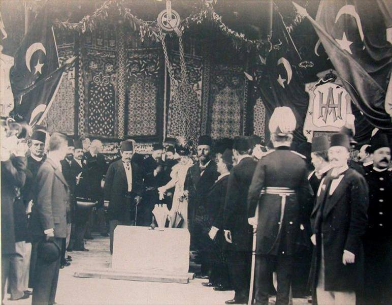 Abbas Hilmi II (1874-1944, r. 1892-1914), last khedive of Egypt, opening the Egyptian Museum in 1902.
