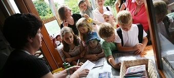 Children gather for an activity