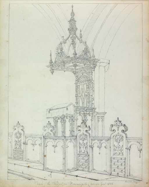 Image of the Pulpit, Brancepeth Church, [1626 x 1630s]. Drawn by Anne Salvin, 1825 (Ref: Add.MS. 1508/4).