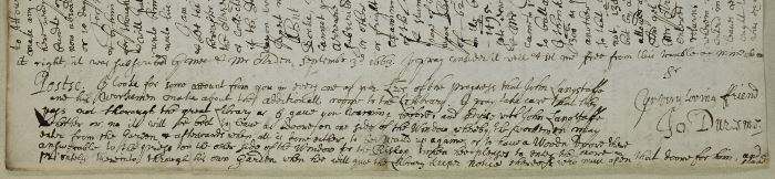 Image of excerpt from Cosin Letter-Book 4B, 96 (Durham University Library).