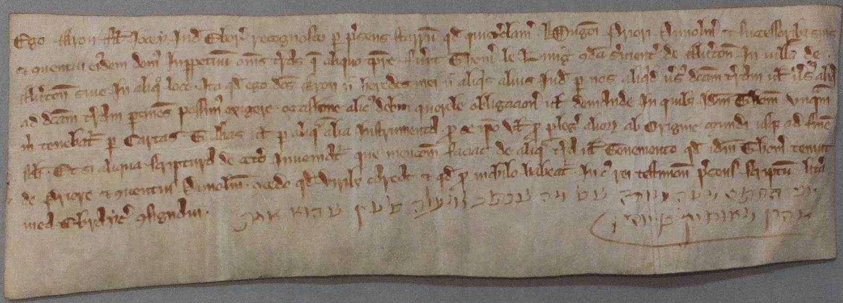 "Image of a Quitclaim by Aaron of York to the prior and convent of Durham, renouncing his right to the lands of a former debtor, held among the Durham Cathedral Archives (ref DCD 1.1.Ebor.15b).  The Hebrew text translates as, ""I the undersigned certify t"