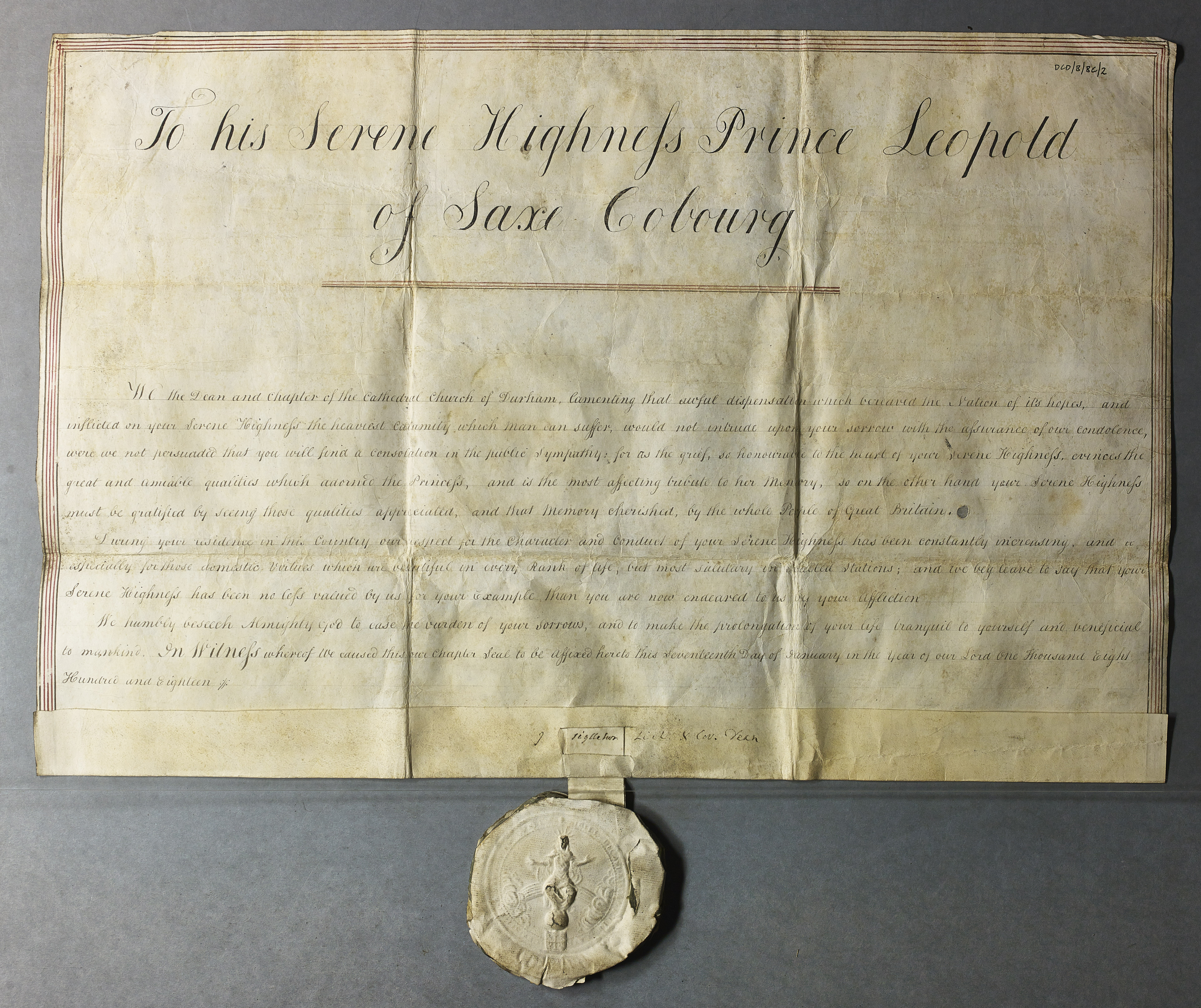 Image of sealed address by the Dean and Chapter of Durham to Prince Leopold of Saxe Coburg upon the death of his wife Princess Charlotte, 17 January 1818. (Ref: DCD/B/BC/2. Reproduced by kind permission of the Chapter of Durham Cathedral).