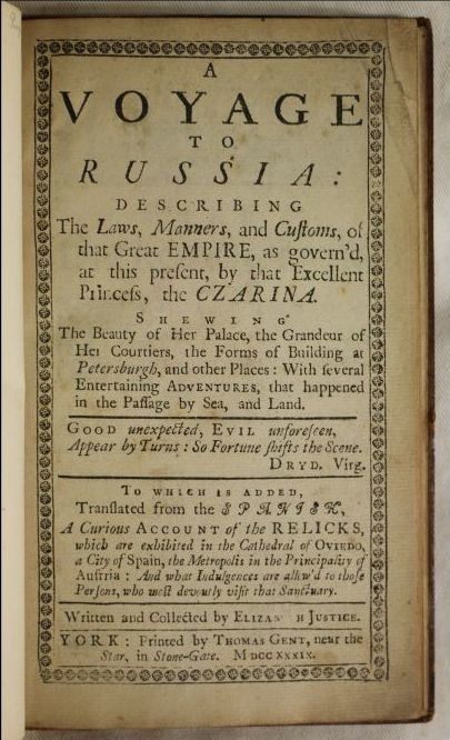 Title page of A voyage to Russia, by Elizabeth Justice (Ref: Routh 59.E.13)