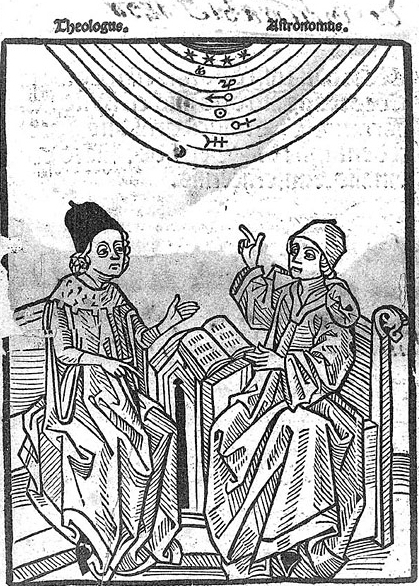 Image of Theologian and astrologer, under planetary orbits. Woodcut illustration from the treatise Concordantia astronomie cum theologia (1490) by Pierre d'Ailly (Ref: SA 0052).